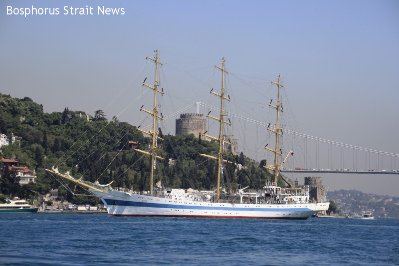 SAILSHIP MIR - Passing Bosphorus strait 27 may 2010