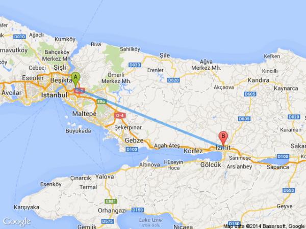 istanbul-umraniye-izmit-korfez-harita-km-uzaklik-mesafe